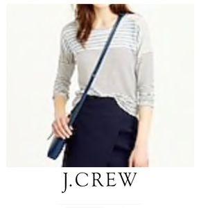 J. Crew Linen Stripe Baseball Tee